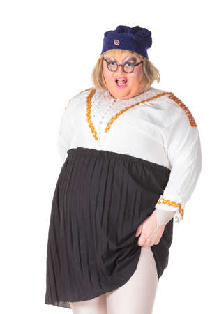 bbw: Cheerful man, Drag Queen, in a Female Suit, over white background Stock Photo
