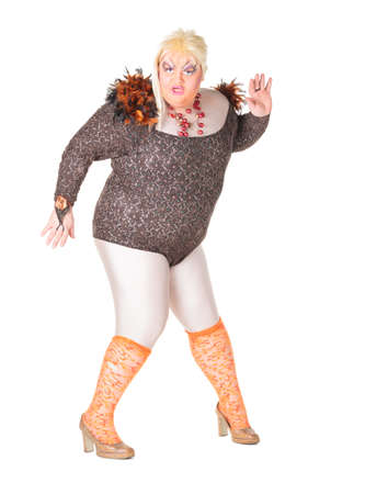 Cheerful man, Drag Queen, in a Female Suit, over white background Stock Photo - 17702772