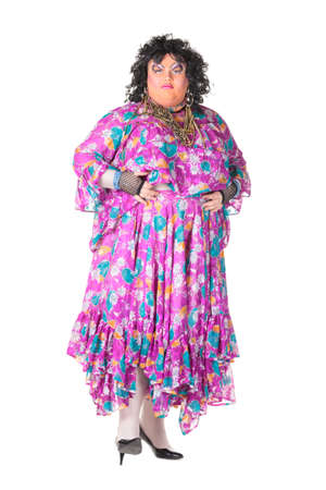 Cheerful man, Drag Queen, in a Female Suit, over white background Stock Photo - 17702784