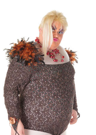 blondy: Cheerful man, Drag Queen, in a Female Suit, over white background Stock Photo
