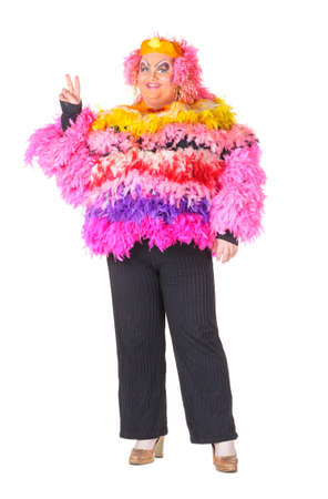 Cheerful man, Drag Queen, in a Female Suit, over white background Stock Photo - 17702765