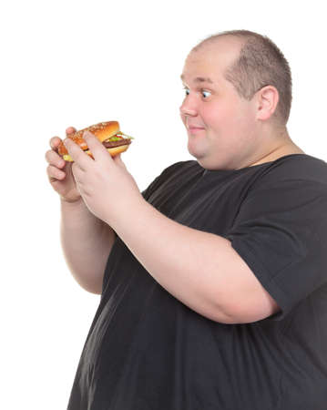 rotund: Fat Man Looks Lustfully at a Burger, on white background