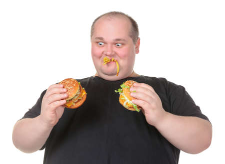 Fat Man Looks Lustfully at a Burger, on white background