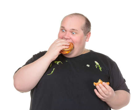 dirty man: Fat Man Greedily Eating Hamburger, on white background
