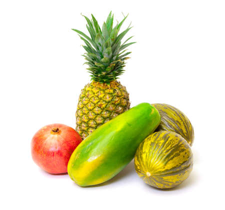 Composition with Tropical Fruits, on white background Stock Photo - 17920322