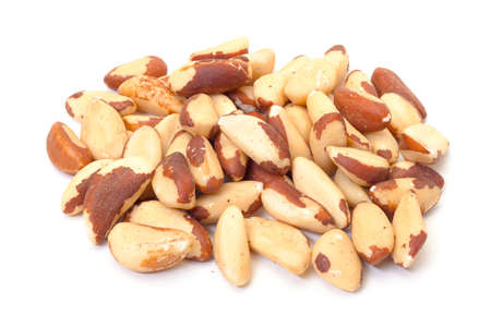 Heap Brazil Nuts on white background