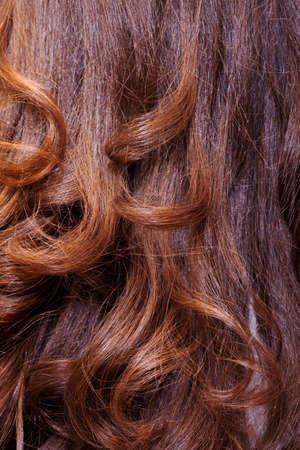 Background of long healthy shiny wavy auburn or brunette hair, studio shot of the back of a female head Stock Photo - 18170366