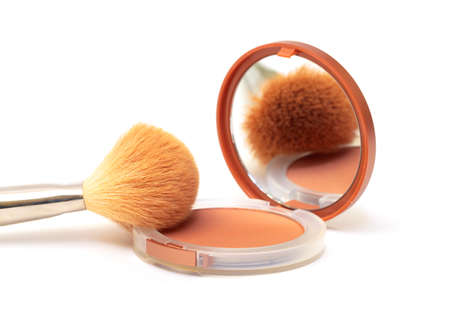 Make-up Powder in Box with Mirror, on white background