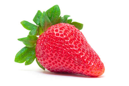 Ripe Berry Red Strawberry on white background, closeup photo