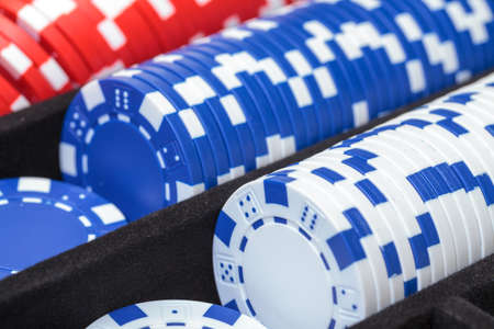 Stacks of Multicolored Poker Chips, closeup photo