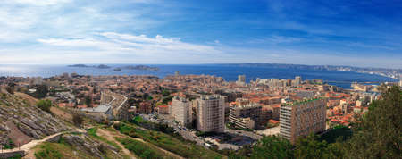 marcelle: Panoramic aerial view on bay Marseille from mountain, France Stock Photo