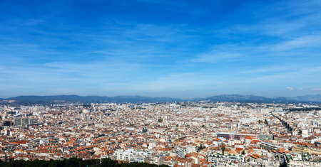 Panoramic aerial view on Marseille from mountain, France