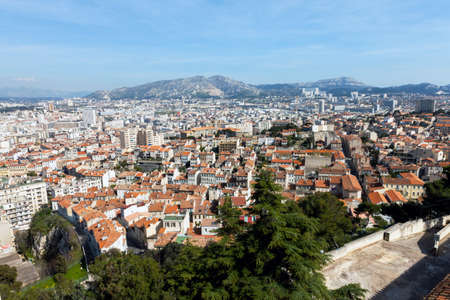 marcelle: Panoramic aerial view on Marseille from mountain, France