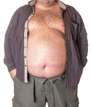 Fat man with a big belly, close-up part of the body Stock Photo