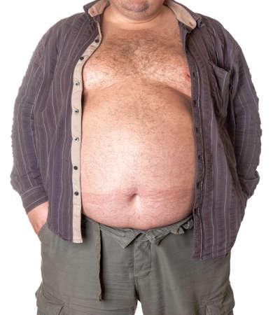 Hombre gordo con una barriga grande, close-up parte del cuerpo
