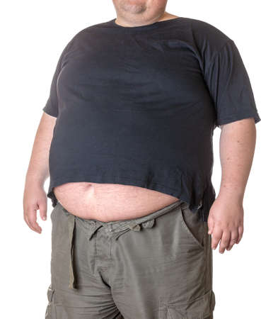 big: Fat man with a big belly, close-up part of the body Stock Photo
