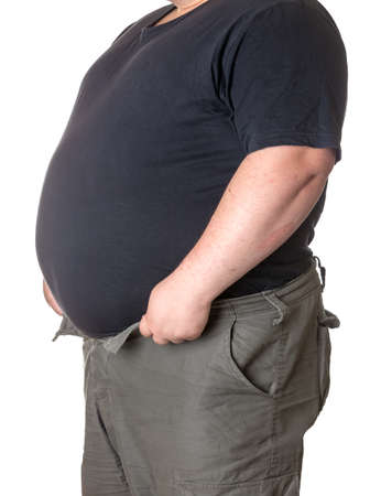 fatness: Fat man with a big belly, close-up part of the body Stock Photo