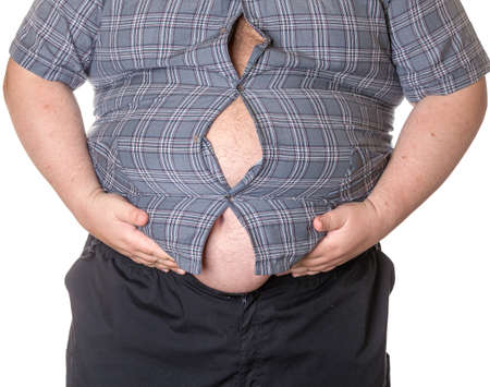 man isolated: Fat man with a big belly, close-up part of the body Stock Photo