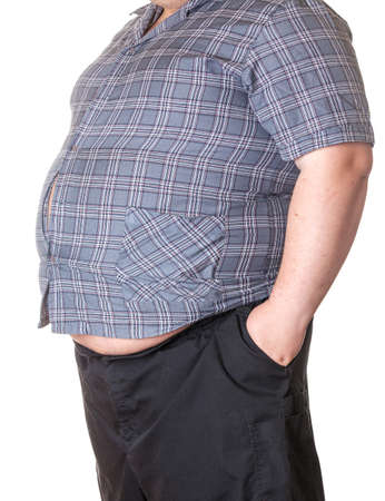 Fat man with a big belly, close-up part of the body photo