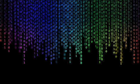 zeroes: Abstract Rainbow Binary Code on black background Stock Photo