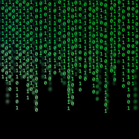 zeroes: Abstract Green Binary Code on black background