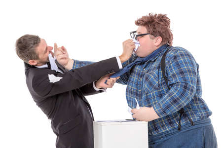 rudely: Two men resorting to fisticuffs following a disagreement as an elegant man in a bow tie tries to ward off a country bumpkin who is gesturing rudely in his face