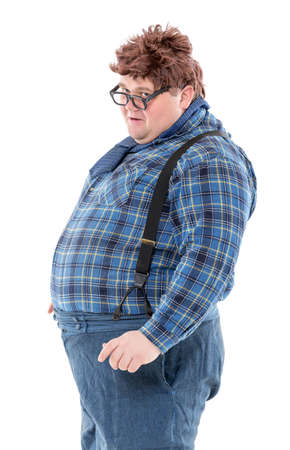 pretense: Overweight obese country yokel, on white background Stock Photo