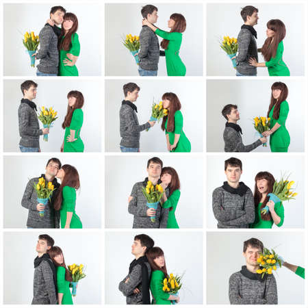 Collage happy young couple with bouquet flowers, on gray background photo