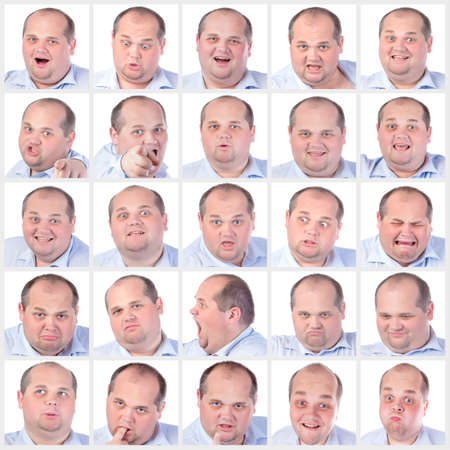 fatso: Collage portrait fat man with difference emotions, on white background