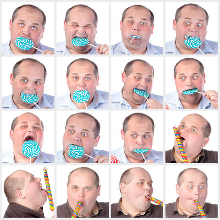 fatso: Collage portrait fat man eating a lollipop, on white background Stock Photo