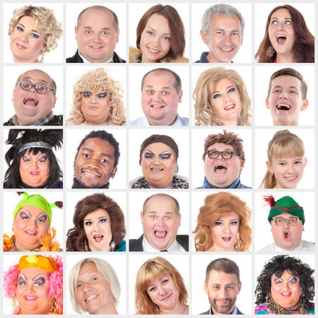 Collage of many different happy human faces of modern people photo