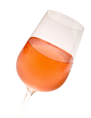 pink wine: Wineglass With Pink Wine, on white background