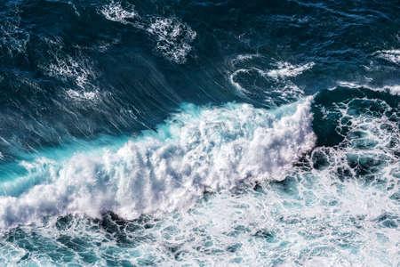 wave: Beautiful Blue Ocean Waves, aerial view Stock Photo