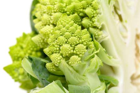 romanesque: Part Green Fresh Romanesque Cauliflower, closeup