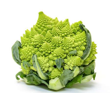 romanesque: Green Fresh Romanesque Cauliflower, on white background