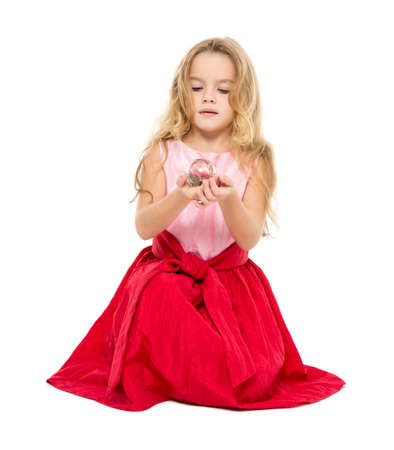 ball isolated: Little Girl with Magic Ball Dreams, on white background