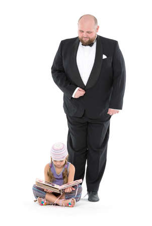 servant: Little Girl and Servant in Tuxedo, on white background