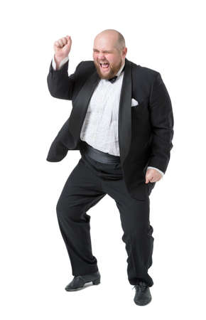 Jolly Fat Man in Tuxedo and Bow tie Shows Emotions, on white background