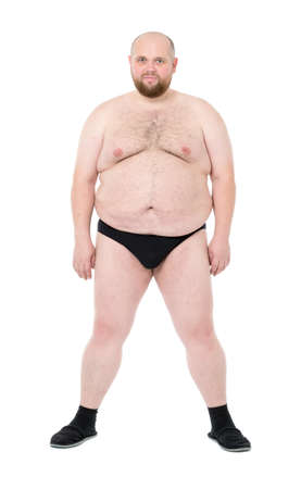 naked belly: Naked Overweight Man with Big Belly front view, on white background Stock Photo
