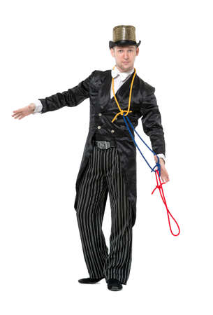 illusionist: Illusionist Shows Tricks with a Rope, on white background