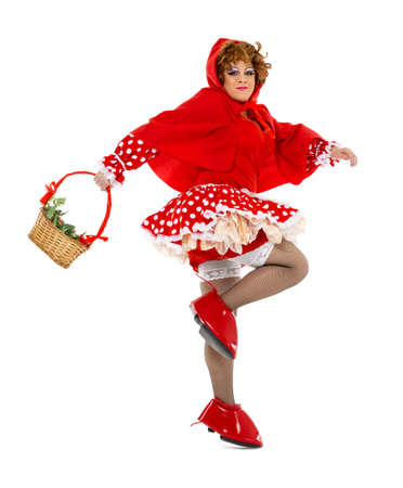 drag queen: Actor Drag Queen Dressed as Little Red Riding Hood, on white background