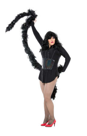 black boa: Actor Drag Queen Dressed as Woman Showing Emotions, on white background Stock Photo