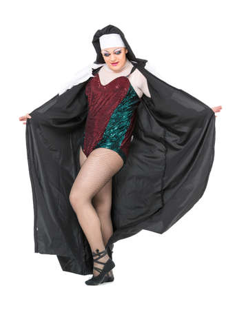 drag: Actor Drag Queen Dressed as Nun, on white background Stock Photo