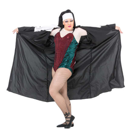 drag queen: Actor Drag Queen Dressed as Nun, on white background Stock Photo