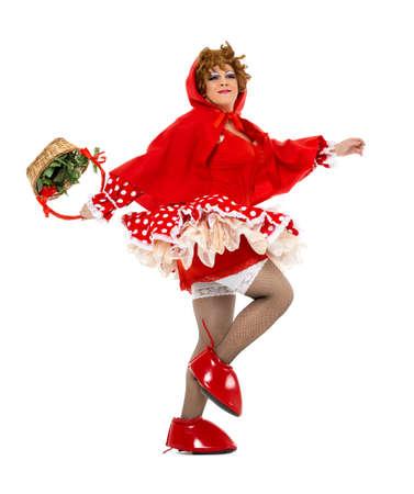 caperucita roja: Reina Actor Arrastrar Vestido como Caperucita Roja, en el fondo blanco