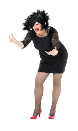 drag queen: Actor Drag Queen Dressed as Woman Showing Emotions, on white background Stock Photo