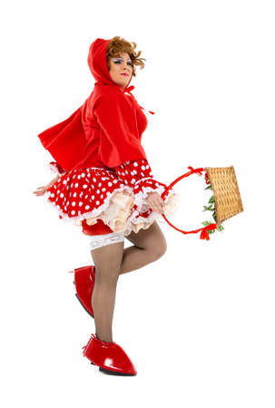 drag: Actor Drag Queen Dressed as Little Red Riding Hood, on white background