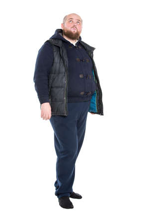 fatso: Jolly Fat Man in a Dark Warm Clothes, on white background