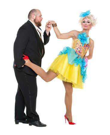 fatso: Eccentric Fat Man in a Tuxedo and Beautiful Lady in an Evening Dress, drag queen artists on white background