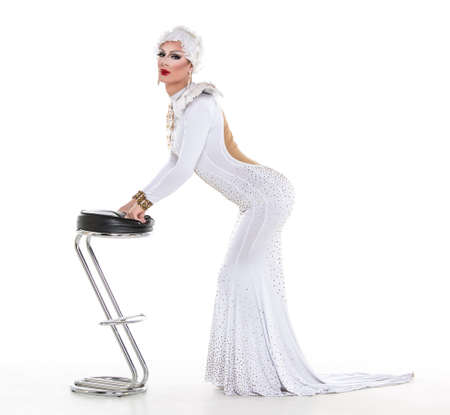sexy gay: Drag Queen in White Dress Performing, on white background Stock Photo